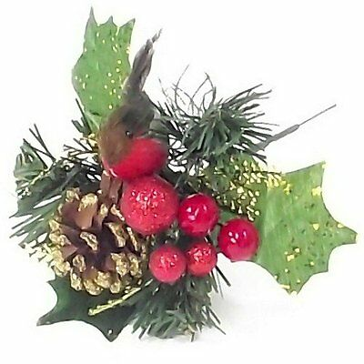 Christmas Artificial Glitter Holly Pick With Robin Cone and Berries