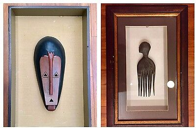 Rare 2pc AFRICAN Dagon Fang Gabon CARVED WOOD COMB MASK Art Vintage shadow box