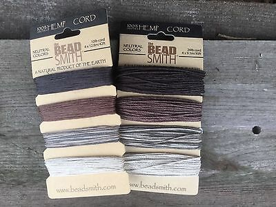 Beadsmith Neutral 4 colour Hemp cord available in 0.55mm (10lb) and 1mm (20lb)