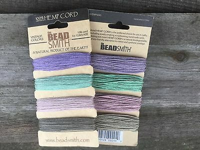 Beadsmith vintage / pastel 4 colour Hemp cord in 0.55mm (10lb) and 1mm (20lb)