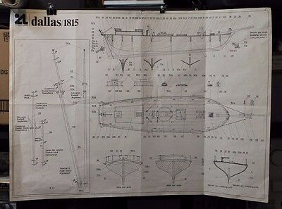 "Ship Plan Blueprint Dallas 1815 35""x 26.5"" print maritime"