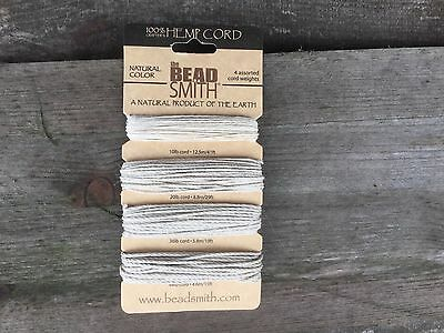 Beadsmith Assorted 4 thickness natural Hemp cord in 10lb, 20lb, 36lb and 48lb
