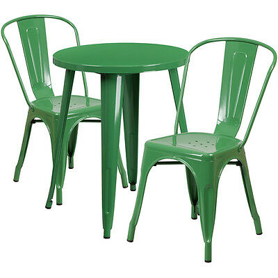 24'' Round Green Metal Indoor-Outdoor Table Set With 2 Cafe Chairs