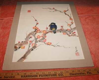 Vintage Signed Chinese Water Color on Paper Bird on Tree