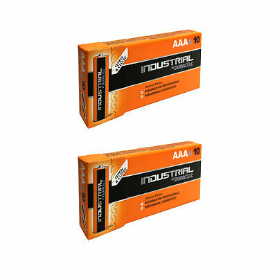 20 x AAA Duracell Industrial MN2400 Alkaline 1.5v Batteries for Electronics