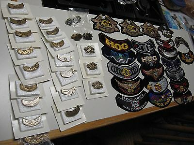 16 Years of HOG Harley Owners Group NIB Pins & Patches -1991 to 2006- 45 pieces