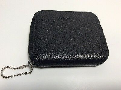 Vintage FURLA Genuine Leather Keychain Coin Purse Black Made In Italy