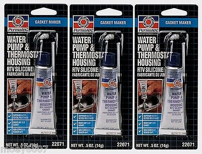 3 PERMATEX 22071 WATER PUMP & THERMOSTAT HOUSING SILICONE GASKET MAKER .5oz