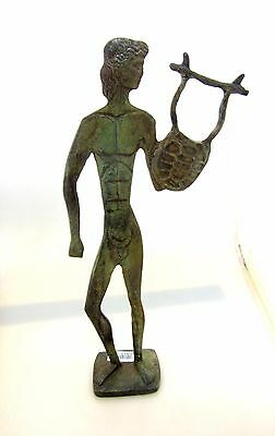 Ancient Greek Bronze Olympian God Pantheon Sculpture Statue Apollo With A Harp