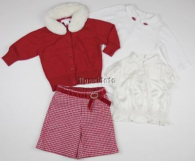 Janie and Jack Keepsake Holiday 4pc Outfit Set Red Gingham Silk 3 6 Mo EEUC