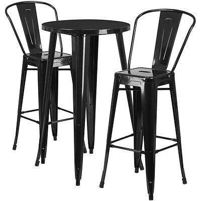 24'' Round Black Metal Indoor-Outdoor Bar Table Set With 2 Cafe Barstools