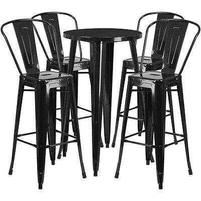 24'' Round Black Metal Indoor-Outdoor Bar Table Set With 4 Cafe Barstools
