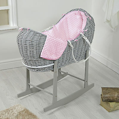 4Baby Grey Wicker / Pink Dimple Padded Noah Pod Moses Basket & Rocking Stand