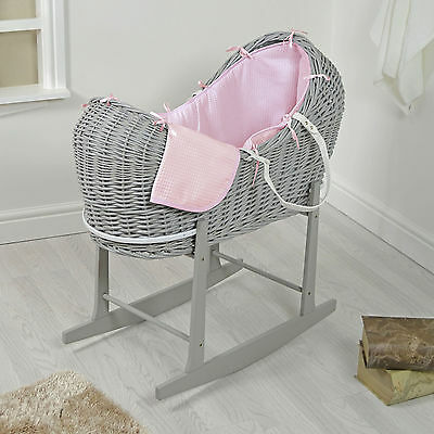 4Baby Grey Wicker / Pink Waffle Padded Noah Pod Moses Basket & Rocking Stand