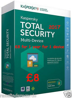Kaspersky TOTAL Security 2017 1yr Code Digital  Download PC / Android / ios/MAC