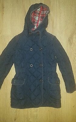 Girls gorgeous  winter coat. Next. Navy, padded, diamond quilted. 7-8 years