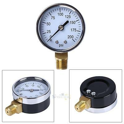 "1/4"" NPT Air Compressor Hydraulic Pressure Gauge 0-200 PSI Side Mount 2"" face"