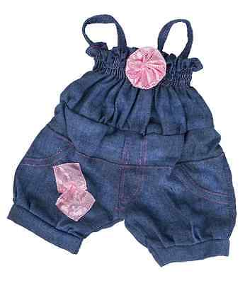 """Pink Glitter Rose Jumpsuit Teddy Clothes to fit 15"""" build a bear plush teddy"""