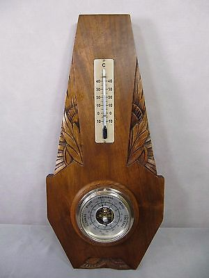 Antique French Barometer: Hand Carved Oak Art Deco Thermometer Maxant 1930s