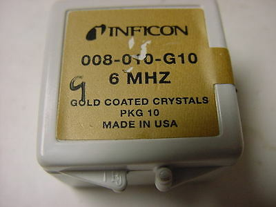 INFICON 008-010-G10 6 MHz Gold Coated Quartz Crystals, BOX OF 9