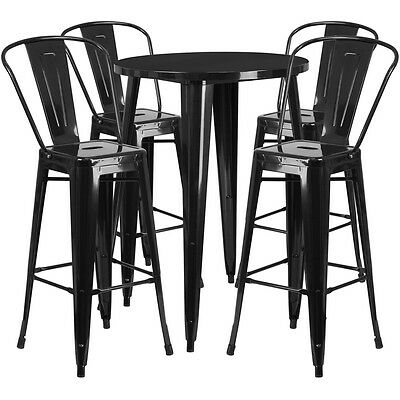 30'' Round Black Metal Indoor-Outdoor Bar Table Set With 4 Cafe Barstools