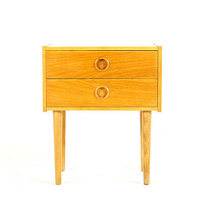 Retro Vintage Danish Oak Bedside Cabinet Table Stand Chest of Drawers 1960s 70s