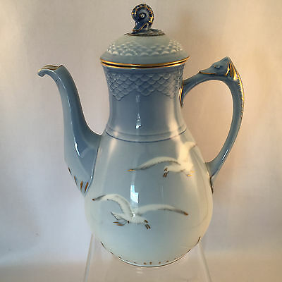 """Bing and Grondahl Seagull Pattern Large Coffee Pot Mint Condition 9.5"""" tall"""