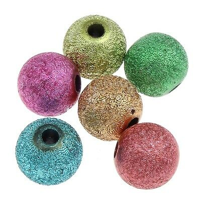 ❤ Acrylic Round MIXED STARDUST Spacer Beads Choose SIZE UK Jewellery Making ❤