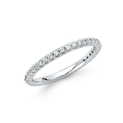 14k Solid White Gold 0.25 Ct Diamond Round Cut Pave Set Wedding Band Ring