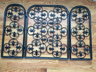 Vintage CAST IRON Black Enameled FIREPLACE GUARD Screen FLEUR DE LIS Mid Century