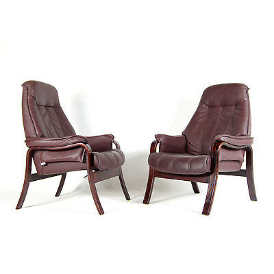 1 of 2 Retro Vintage Danish Rosewood Leather Reclining Lounge Armchair Chair 70s