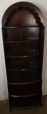Vintage Oak Stepped Waterfall Slim Open Bookcase With Arched Top