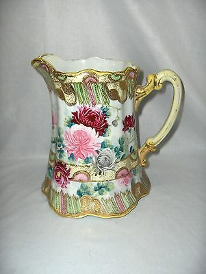 Vintage  Nippon China Moriage Pink Rose Mums 54 Oz  Pitcher Gold Beading NICE