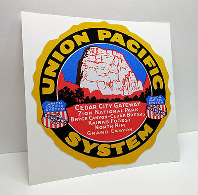 UNION PACIFIC System Vintage Style DECAL / Vinyl Sticker, Railroad Luggage Label