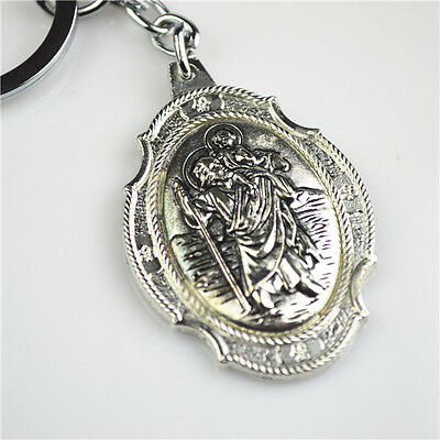 Ant.Silver Plated Religious St. Christopher Pendant Keyring For Protecting Us