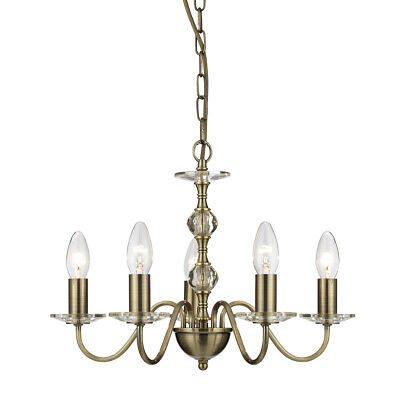 Chandelier Rustic in Antique Brass with Glass Elements 5f Hanging Light Indoors