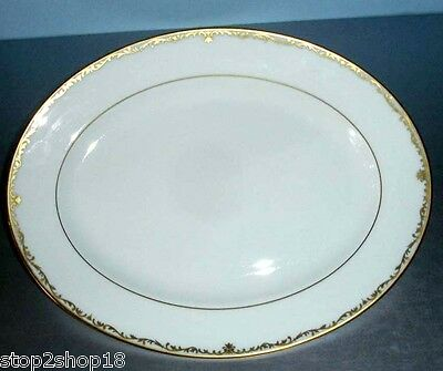 """Lenox CORONET GOLD Oval Serving Platter 13.25"""" Made in USA Retail $200 New"""