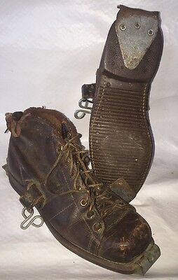 Unique LEATHER Lace-Up Boots Polio Prosthetic? Snow Skiing? 1920s?