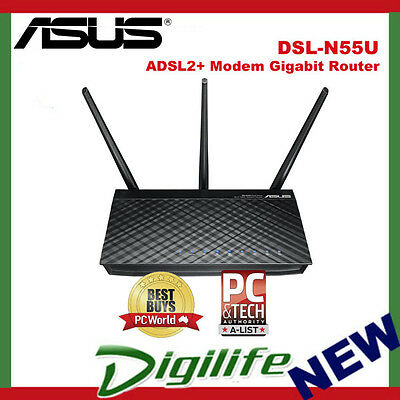 Asus DSL-N55U N600 600Mbps Dual Band WiFi Wireless Gigabit ADSL2+ Modem Router