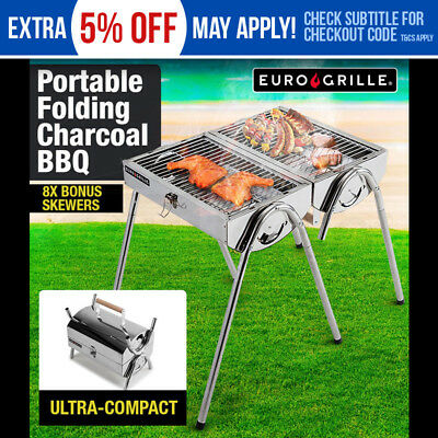 NEW Euro-Grille Portable Outdoor BBQ Grill Camp Charcoal Folding Stainless Steel