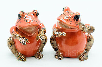 Figurine Animal Statue Salt Pepper Shaker 2 Orange Frog - PS027