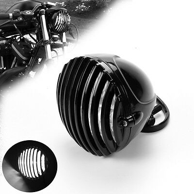 Black Motorcycle Finned Grill Led Headlight Cafe Racer Bobber Xs650 Cb750 Xl Tri
