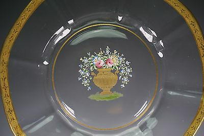 Hand Enameled Painted Glass Plates Flowers Urn Gold Band Set of 12