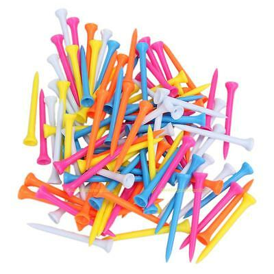 100Pcs Lightweight 5 Mixed Color Plastic Golf Tees 100/82/69/54/42mm for Golfers