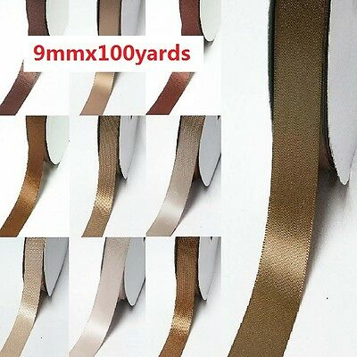 "Wholesale 100 Yards Double Faced Satin Ribbon 3/8"" /9mm Ivory to Brown color"