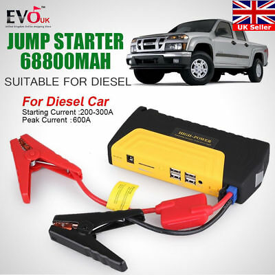 Heavy Duty 68800mAh 4 USB Power Bank Car Jump Starter Portable Emergency Charger