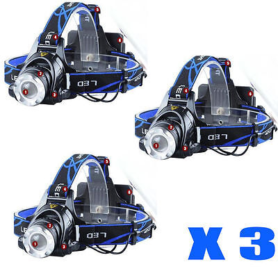 3X 10000LM CREE XML T6 LED HeadLamp Torch HeadLight Bright 18650 battery 2X