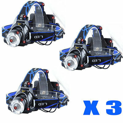 3X 3000LM CREE XML T6 LED HeadLamp Torch HeadLight Bright 18650 battery 2X