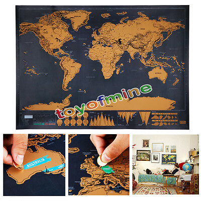 New Black Deluxe Travel World Map Poster Global Traveler Vacation Log Chic Gift