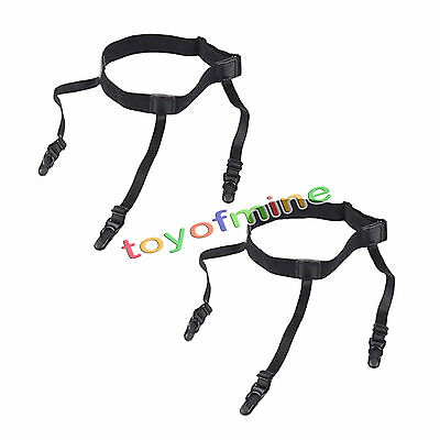1 Pair Mens Adjustable Shirt Stay Garter Belt with Non-slip Locking Clamps AU